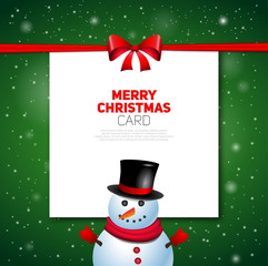 Merry Christmas greeting card with snowman, vector