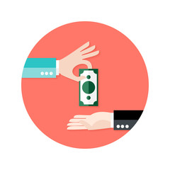 Two Businessmen Money Payment Circle Flat Icon