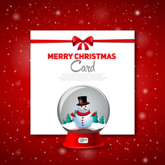 Merry Christmas greeting card with snowman, vector red backgronu