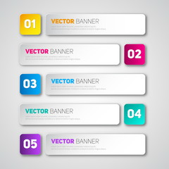 Vector infographic paper banners set, tags for business design,