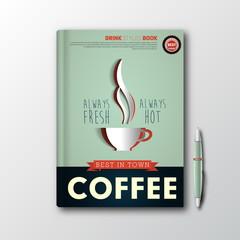 Coffee book cover or flyer template menu splash, vector template