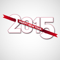 Happy new year 2015 with red ribbon, vector