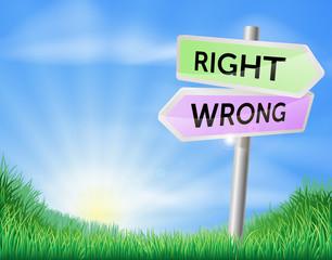 Right way wrong way sign concept