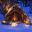 Weihnachtliche Krippe im Schnee