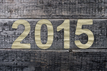 New Year 2015, Old grunge wood background