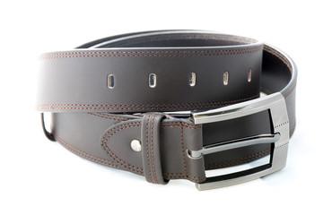 Dark brown leather men belt.