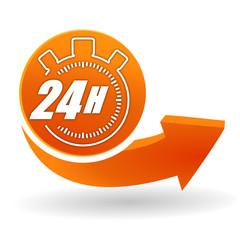 24 heures sur bouton web orange