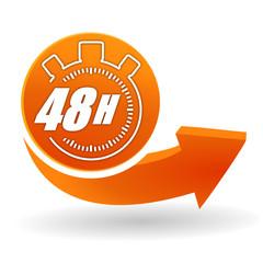 48 heures sur bouton web orange