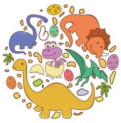 Dinosaur Cute Circle Banner