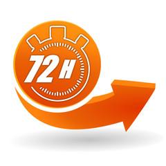 72 heures sur bouton web orange