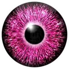 Illustration of a purple eye with light reflection.