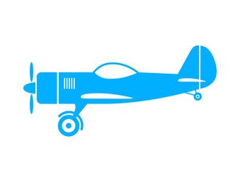 Blue plane icon on white background