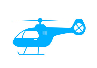 Blue helicopter icon on white background