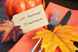 Happy Thanksgiving table place setting  - 73084396