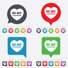 Be my Valentine sign icon. Heart Love symbol.