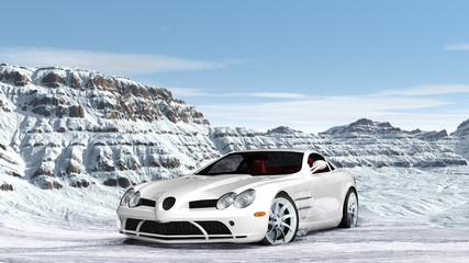 Sportwagen in verschneiter Gebirgslandschaft