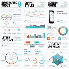 Modern statistics and info graphic vector elements for business