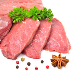 Raw beef, meat slices isolated on white