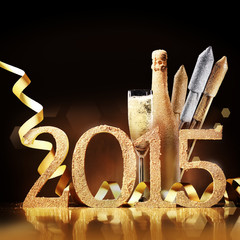 Stylish gold themed 2015 New Year background