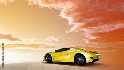 canvas print picture Sportwagen unter einem wolkigen Himmel