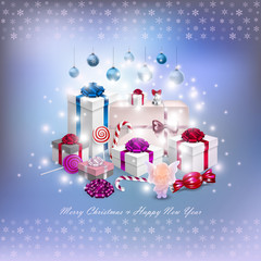 Christmas card with gifts in vector