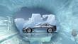 Sportwagen in arktischer Eislandschaft