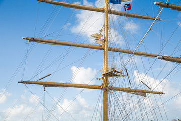 Mast on Clipper Ship with Flag at Top