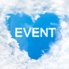 event word cloud blue sky background only