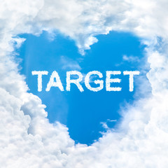 target word cloud blue sky background only