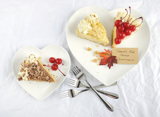 Happy Thanksgiving table place setting with pie dessert