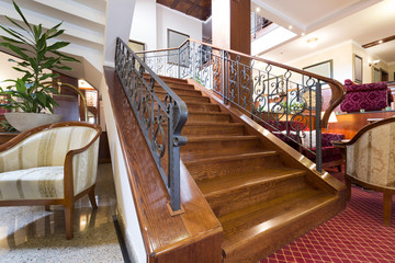 Wooden stairs in hotel lobby