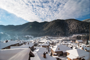 Winter landscape with mountain villages. Captured in Bulgaria