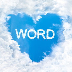 word inside love cloud blue sky only
