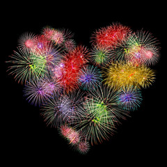 fireworks colorful heart shape