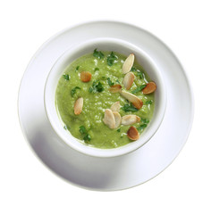 Pea soup with toasted almonds