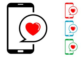Pictograma mensaje amor smartphone con varios colores