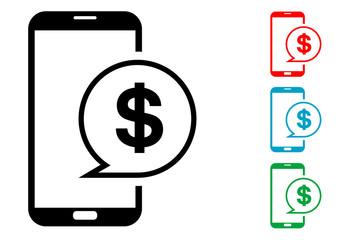 Pictograma mensaje dolar smartphone con varios colores