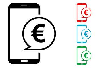 Pictograma mensaje euro smartphone con varios colores