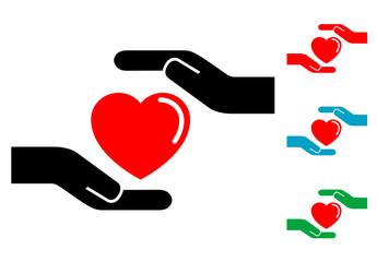 Pictograma proteger corazon con varios colores