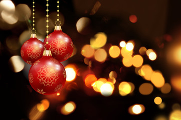 Christmas bokeh lights with baubles