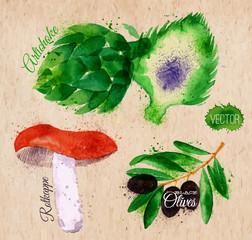 Vegetables watercolor rotkappe, artichokes, black olives on
