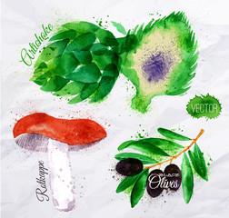 Vegetables watercolor rotkappe, artichokes, black olives