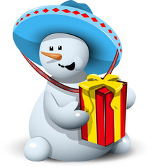 snowman in a sombrero with gift