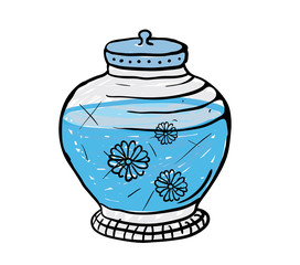 pot with water, vector illustration
