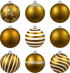 Set of realistic gold christmas balls.