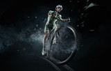 Fototapety Sport. Isolated athlete cyclists