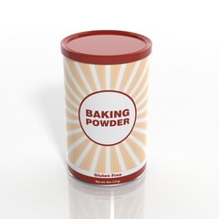 3D Baking Powder can isolated on white