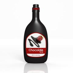 3D Chocolate Syrup bottle isolated on white