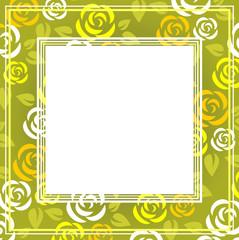 green roses frame