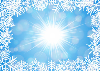 Snowflake frame with background